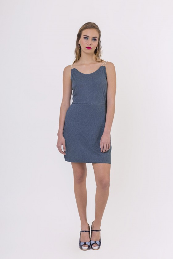 Robe à bretelles Holly Bleu Chiné